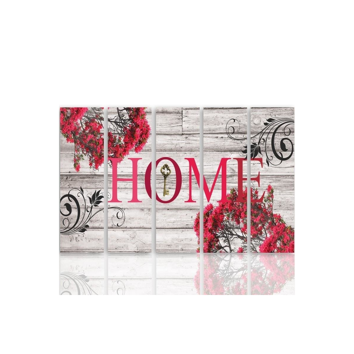 Five Part Picture On Canvas, Pentaptych, Type C, Inscription Home With Flowers 2100x150