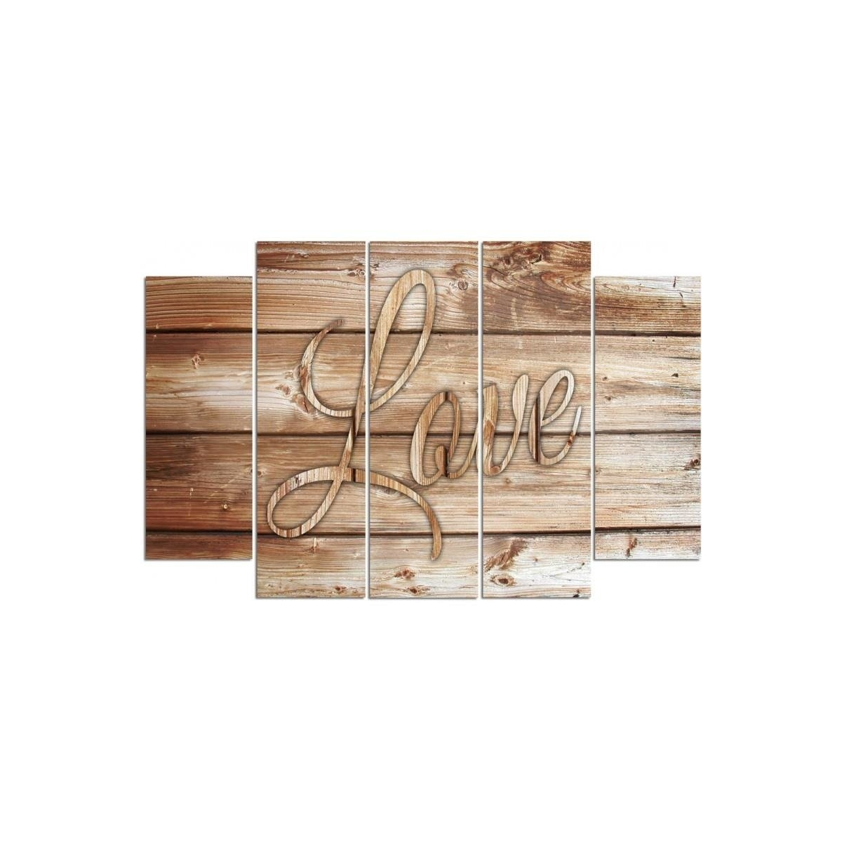 Five Part Picture On Canvas, Pentaptych, Type B, Inscription Love On Brown Boards100x150