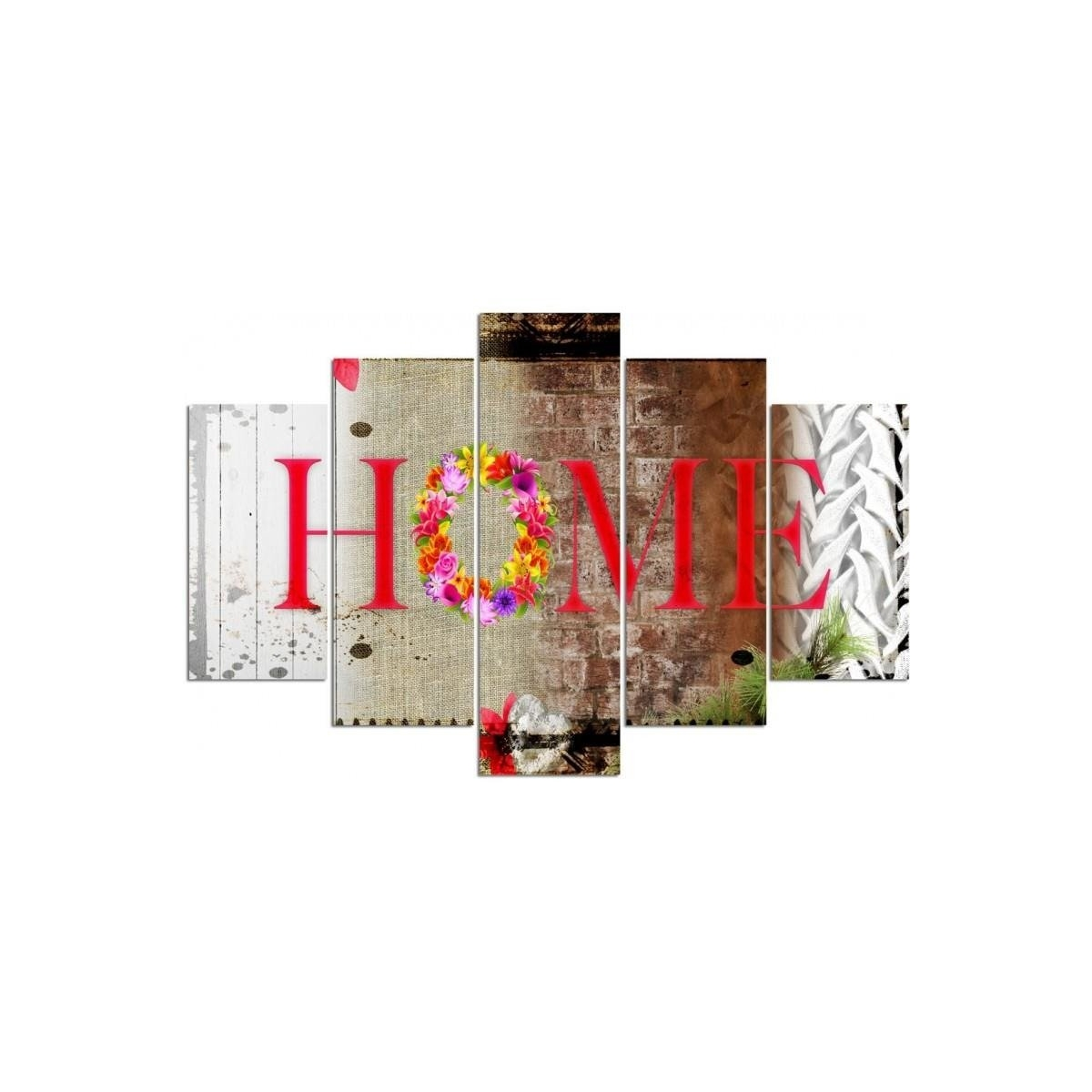 Five Part Picture On Canvas, Pentaptych, Type A, Home - Flowers100x150