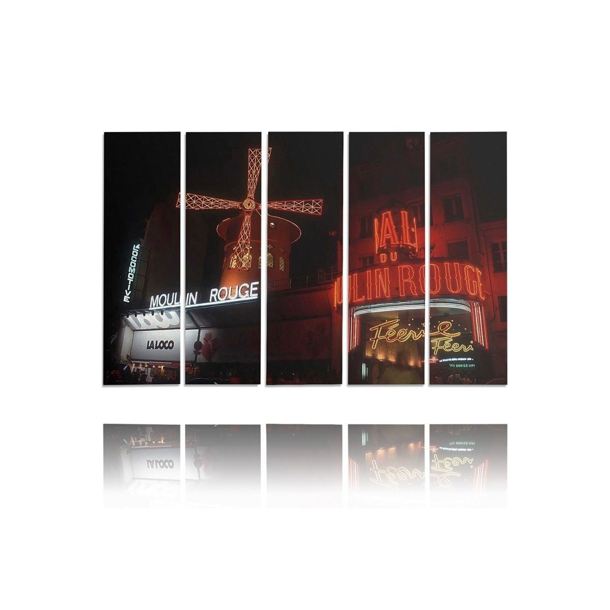 Five Part Picture On Canvas, Pentaptych, Type C, The Moulin Rouge 100x150