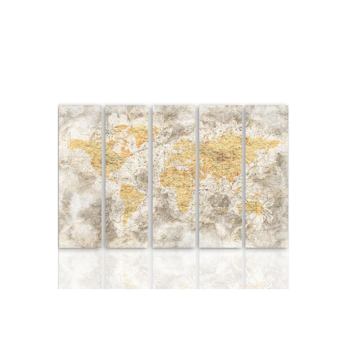 Five Part Picture On Canvas, Pentaptych, Type C, Old World Map 3 100x150