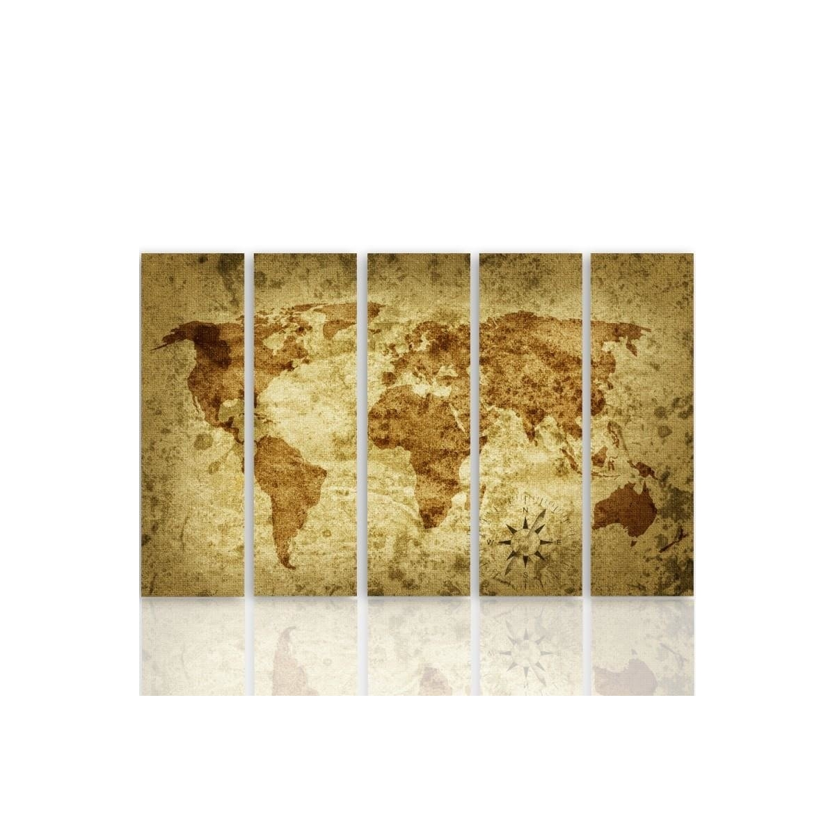 Five Part Picture On Canvas, Pentaptych, Type C, Old World Map 2 100x150