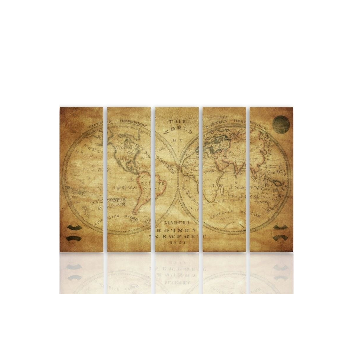 Five Part Picture On Canvas, Pentaptych, Type C, Historic Map Of The World 100x150