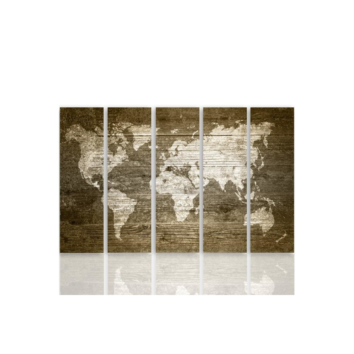 Five Part Picture On Canvas, Pentaptych, Type C, Rustic World Map 100x150