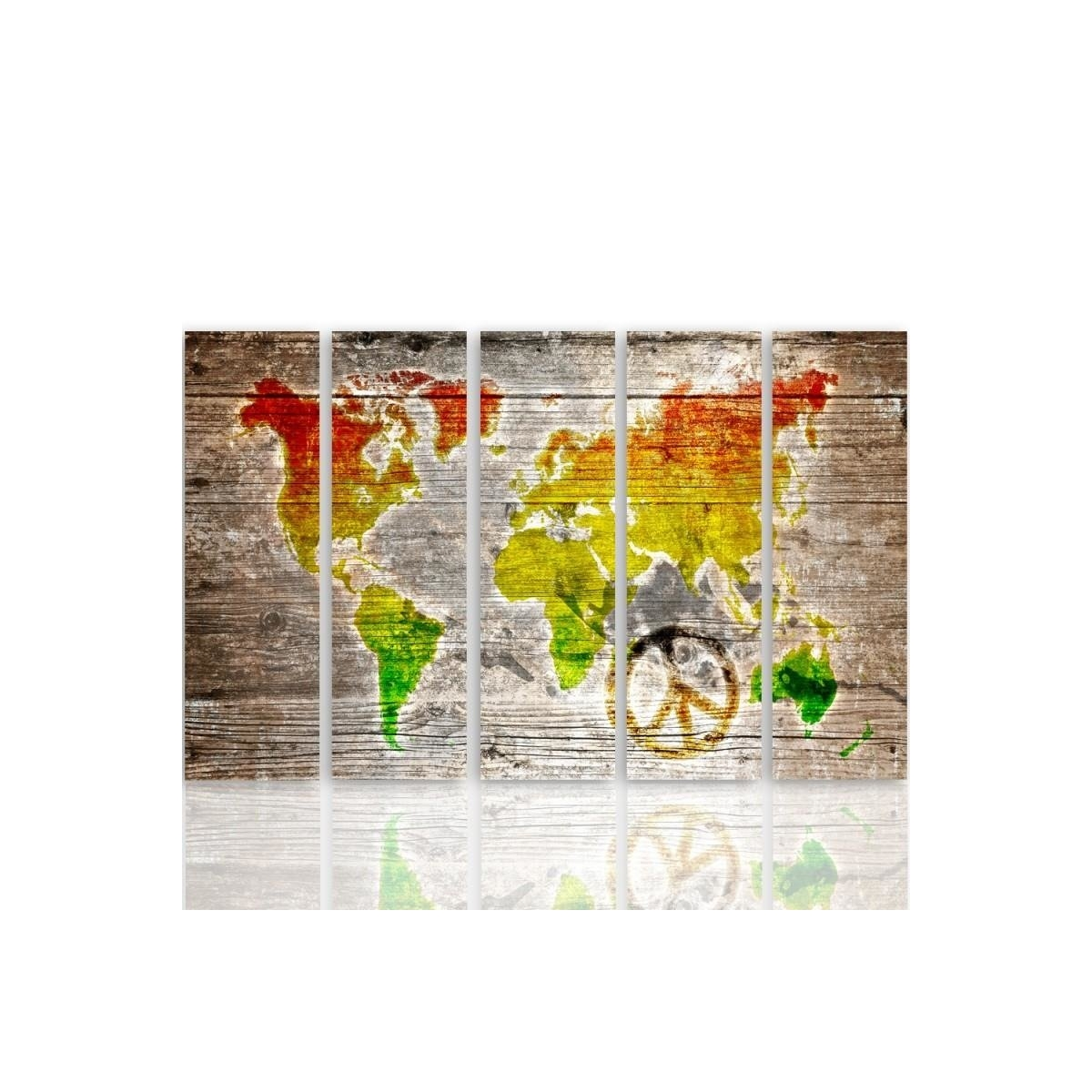 Five Part Picture On Canvas, Pentaptych, Type C, Color Pacifist World Map100x150