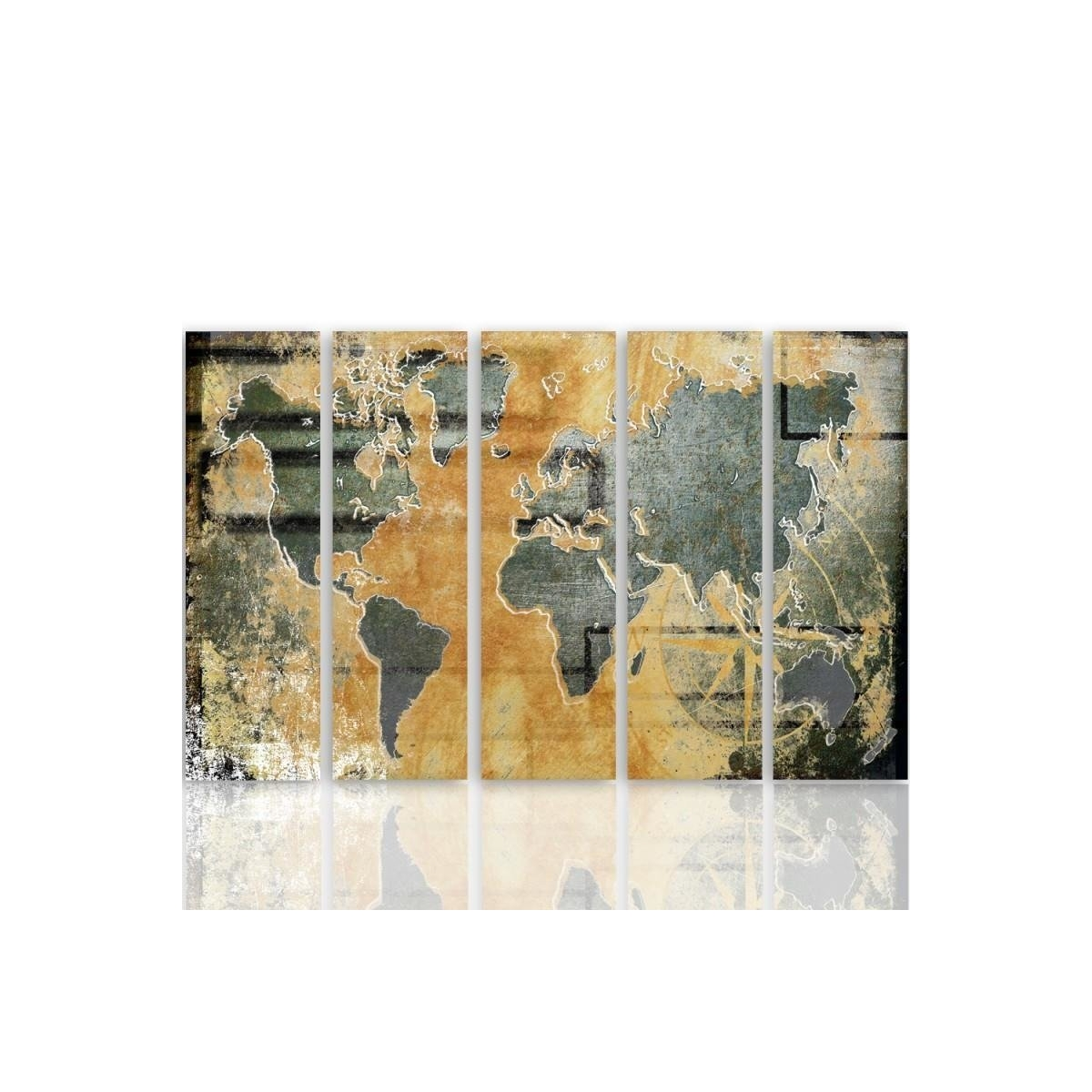 Five Part Picture On Canvas, Pentaptych, Type C, Graphite World Map 100x150