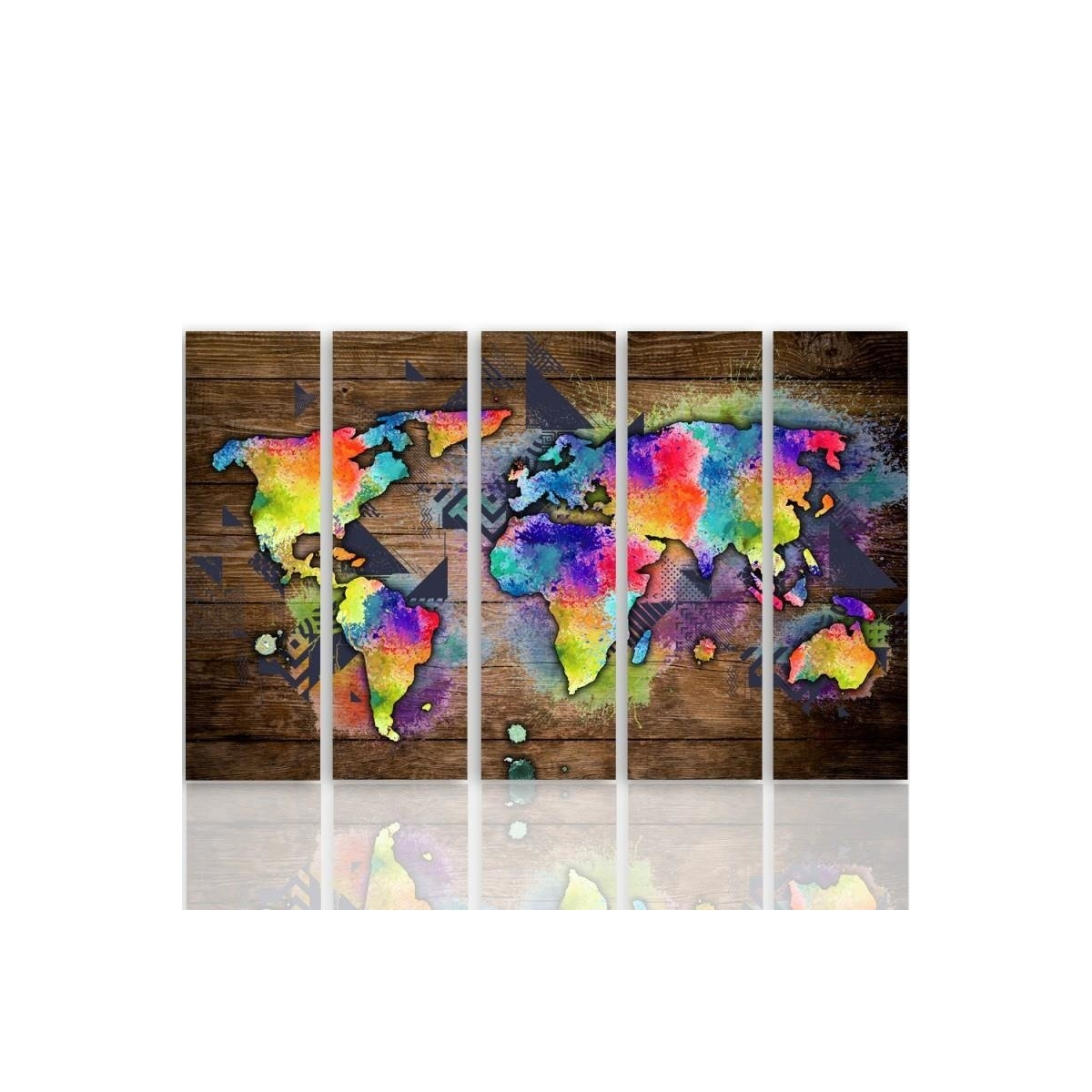 Five Part Picture On Canvas, Pentaptych, Type C, Colorful Map Of The World On The Boards 100x150