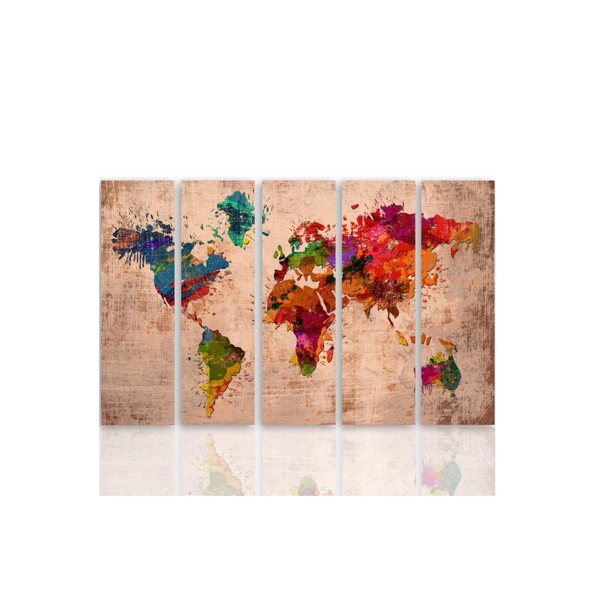 Five Part Picture On Canvas, Pentaptych, Type C, 4 Colored Map Of The World 100x150