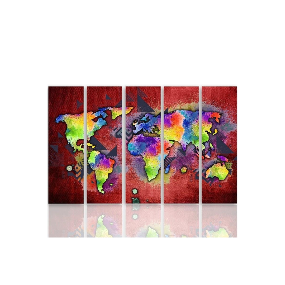 Five Part Picture On Canvas, Pentaptych, Type C, Colorful Map Of The World 100x150