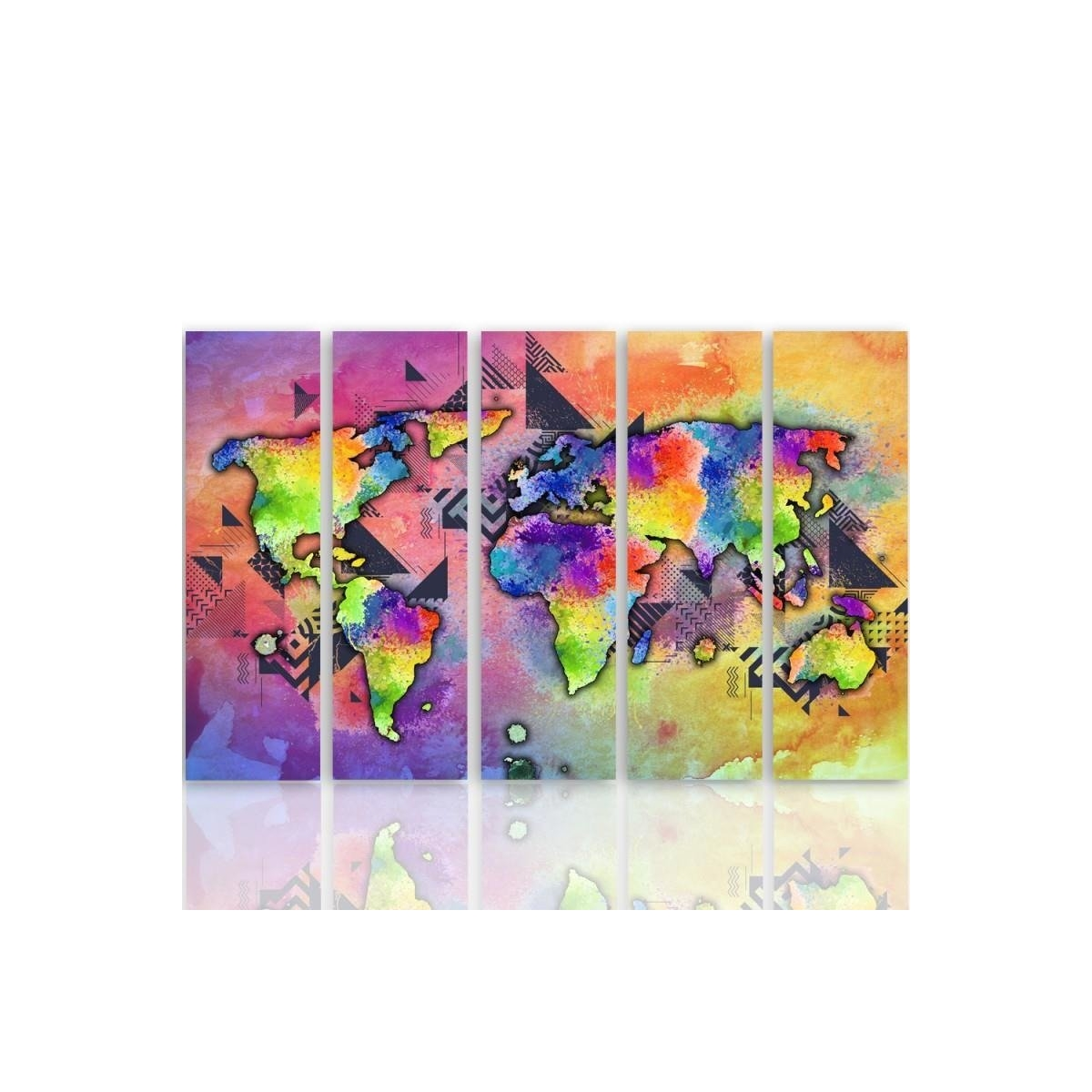 Five Part Picture On Canvas, Pentaptych, Type C, Landrynkowa World Map 100x150