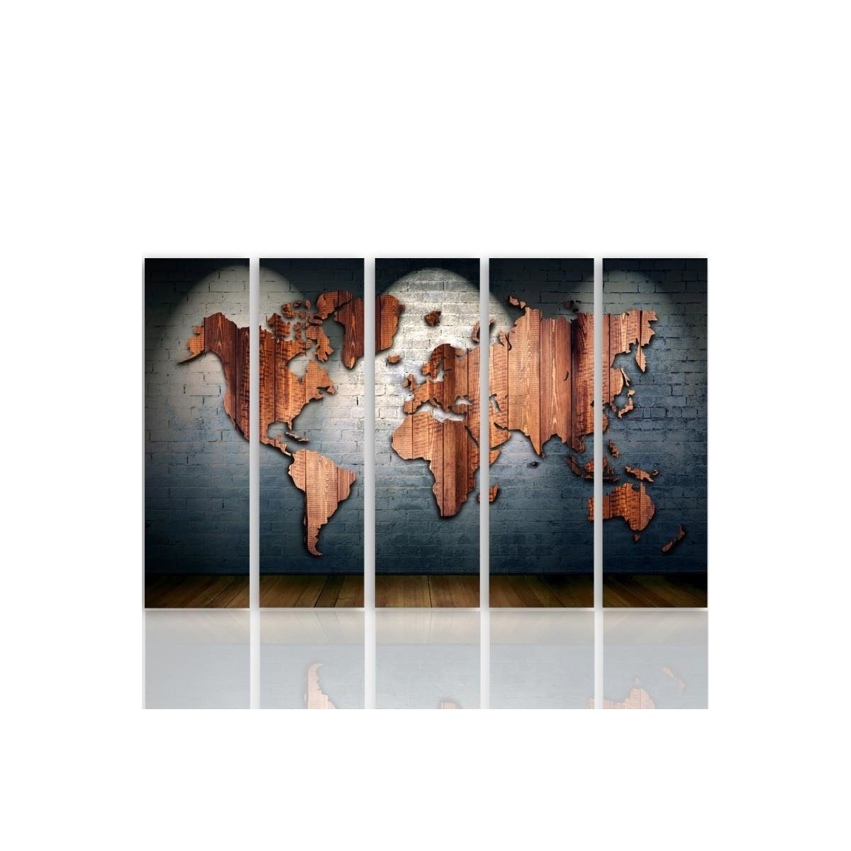 Five Part Picture On Canvas, Pentaptych, Type C, Map Of The World - Boards 100x150