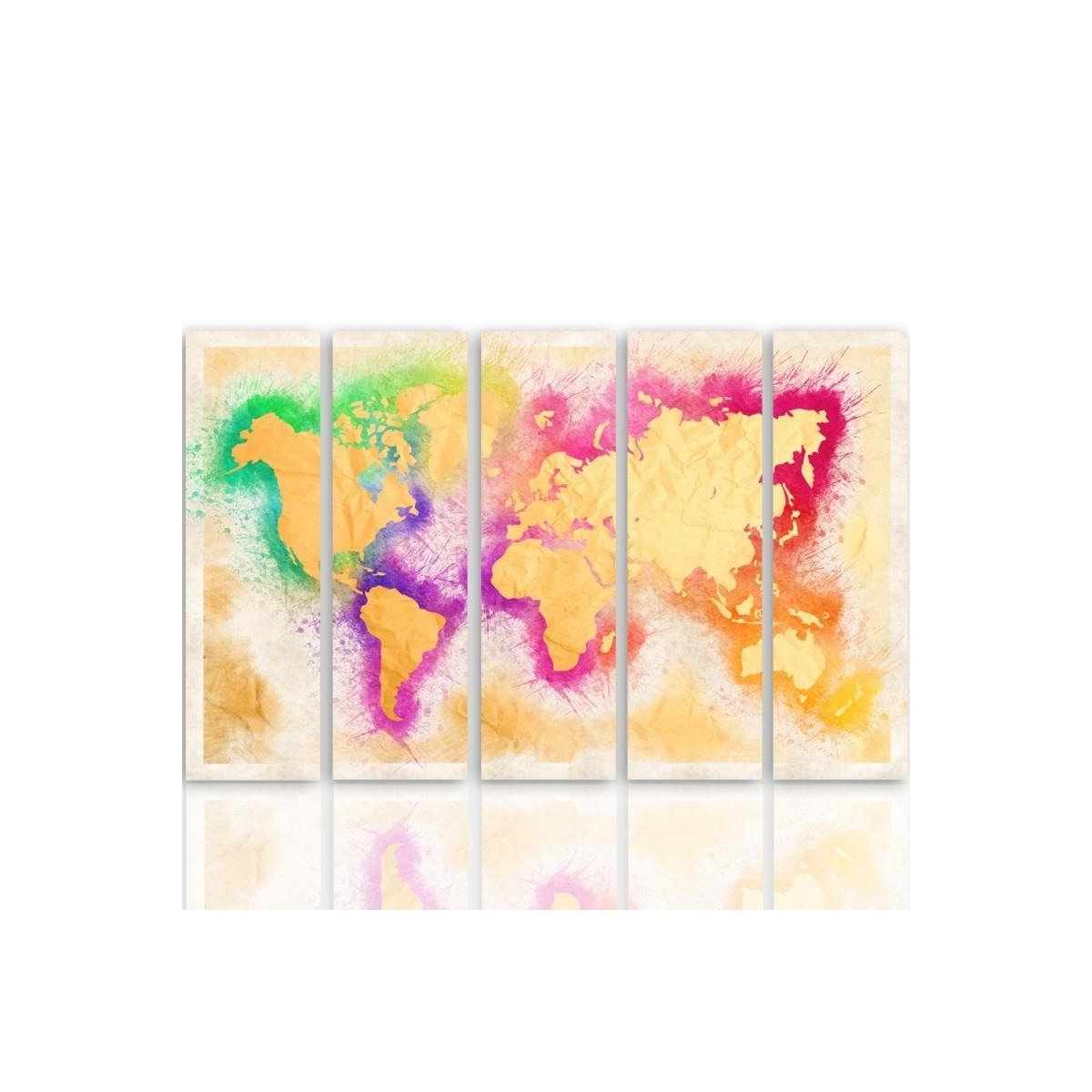 Five Part Picture On Canvas, Pentaptych, Type C, Yellow Map Of The World 100x150