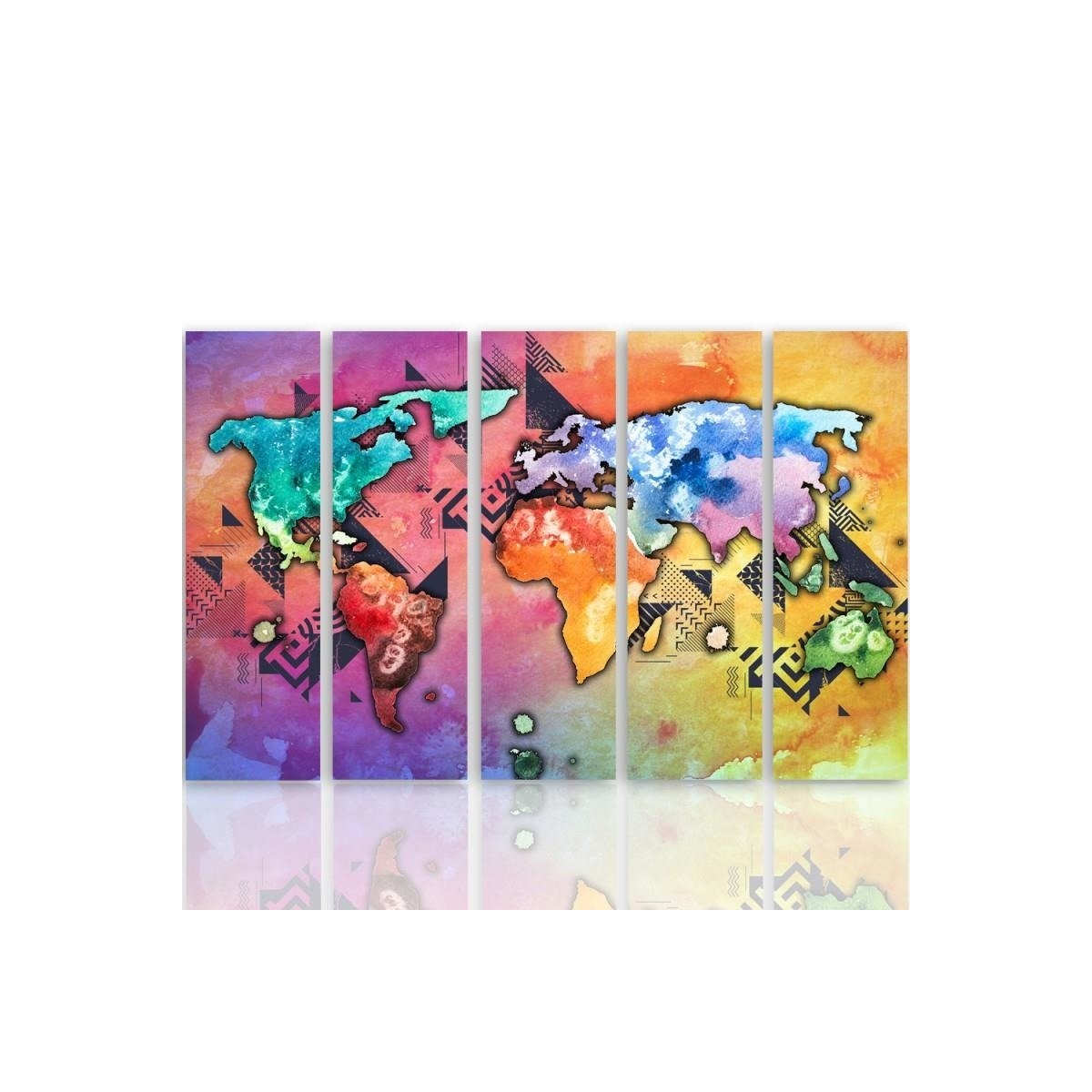 Five Part Picture On Canvas, Pentaptych, Type C, Pastel World Map 100x150