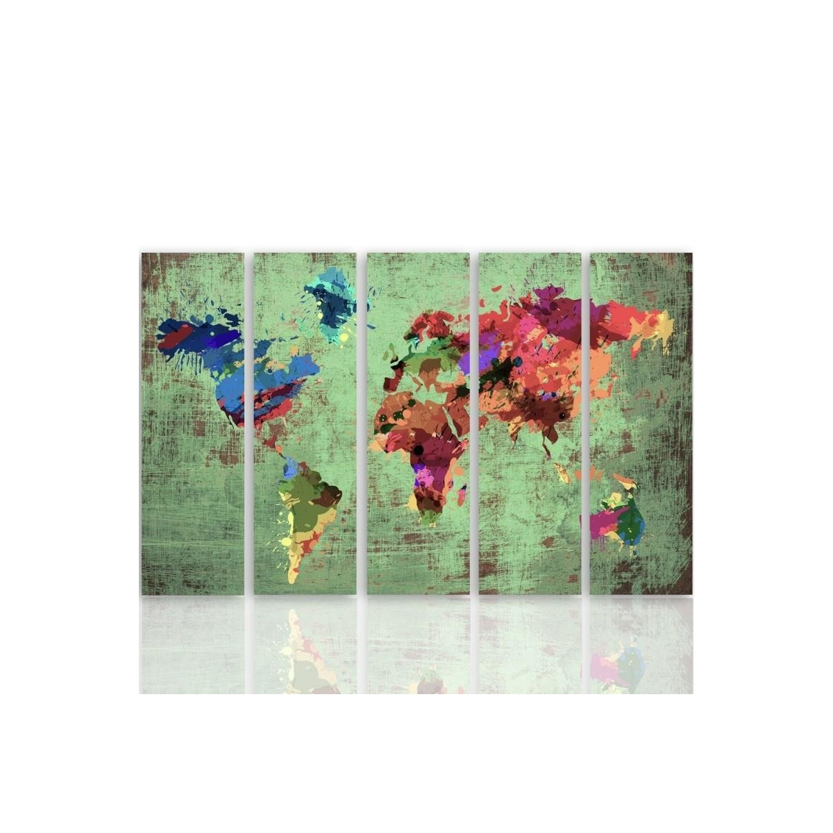Five Part Picture On Canvas, Pentaptych, Type C, Color Map Of The World 3 100x150