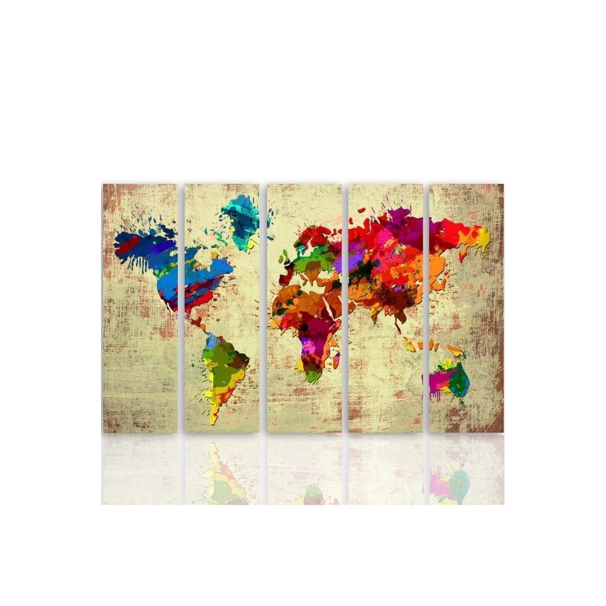 Five Part Picture On Canvas, Pentaptych, Type C, Color Map Of The World 2 100x150