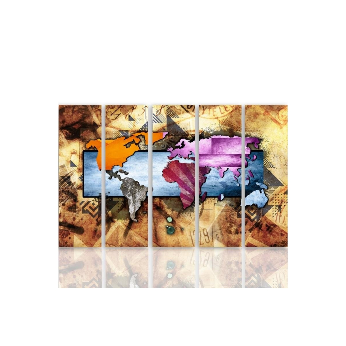 Five Part Picture On Canvas, Pentaptych, Type C, With A World Map Composition 6100x150