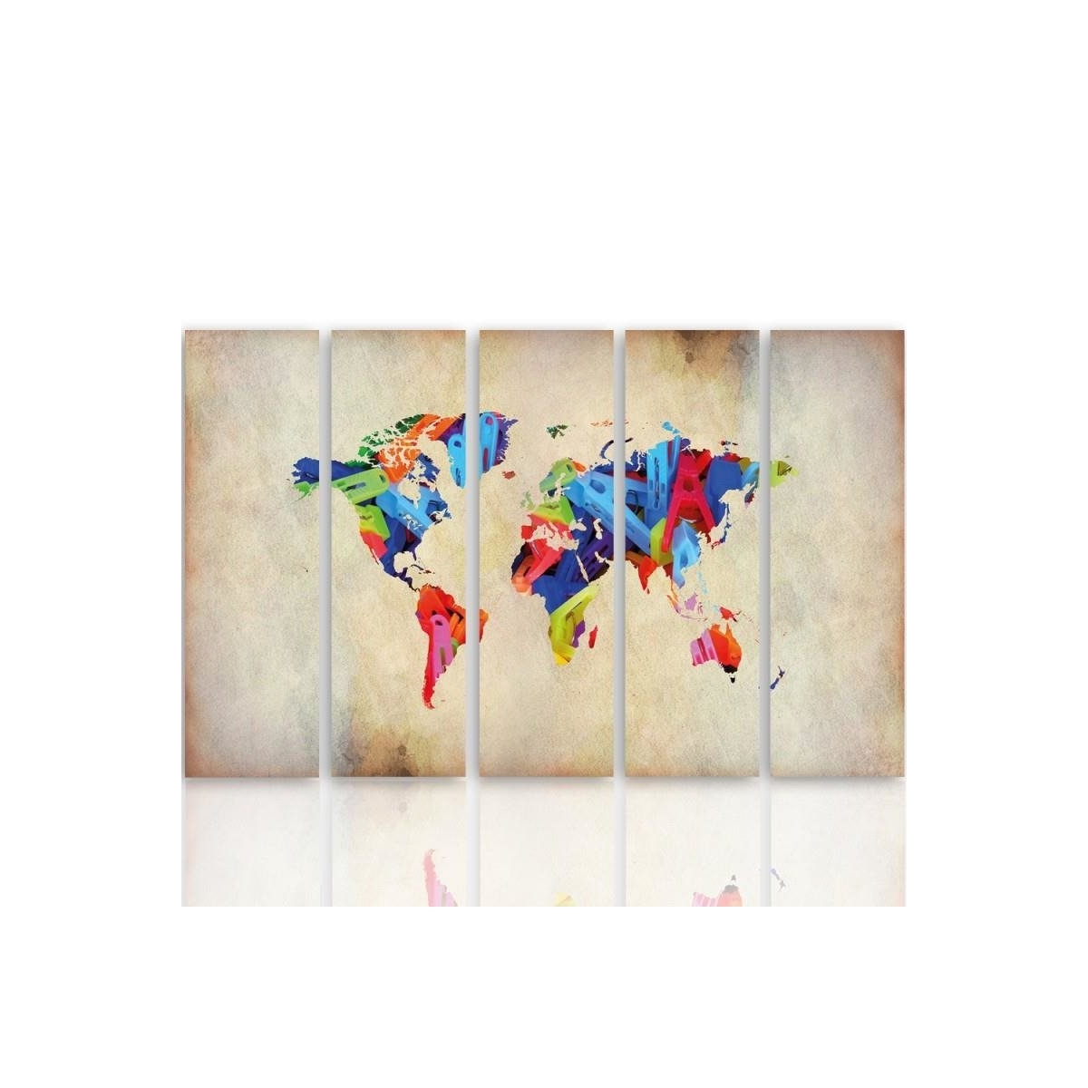 Five Part Picture On Canvas, Pentaptych, Type C, Color Map Of The World 1100x150