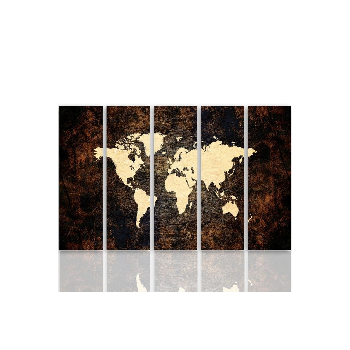 Five Part Picture On Canvas, Pentaptych, Type C, Map Of The World On The Stage 2100x150