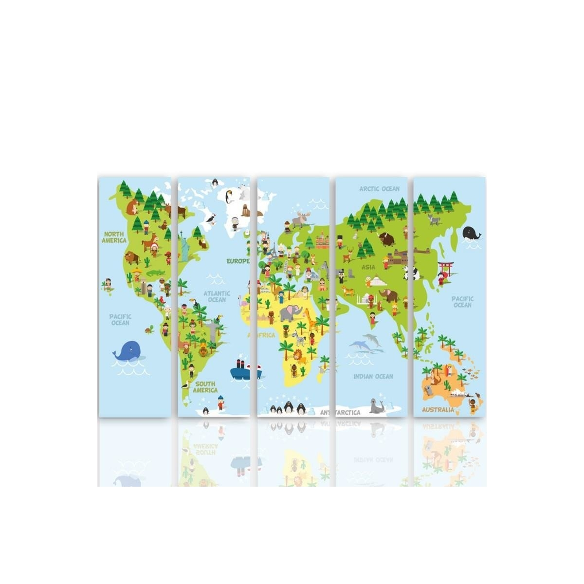 Five Part Picture On Canvas, Pentaptych, Type C, Illustrated Map Of The World 100x150