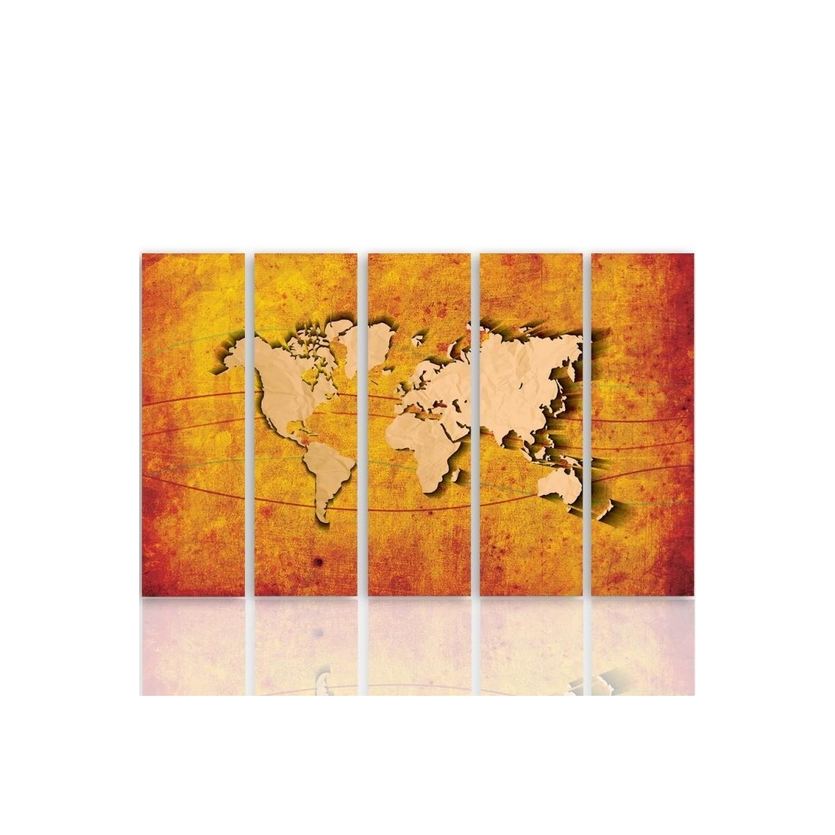 Five Part Picture On Canvas, Pentaptych, Type C, Orange Map Of The World 100x150