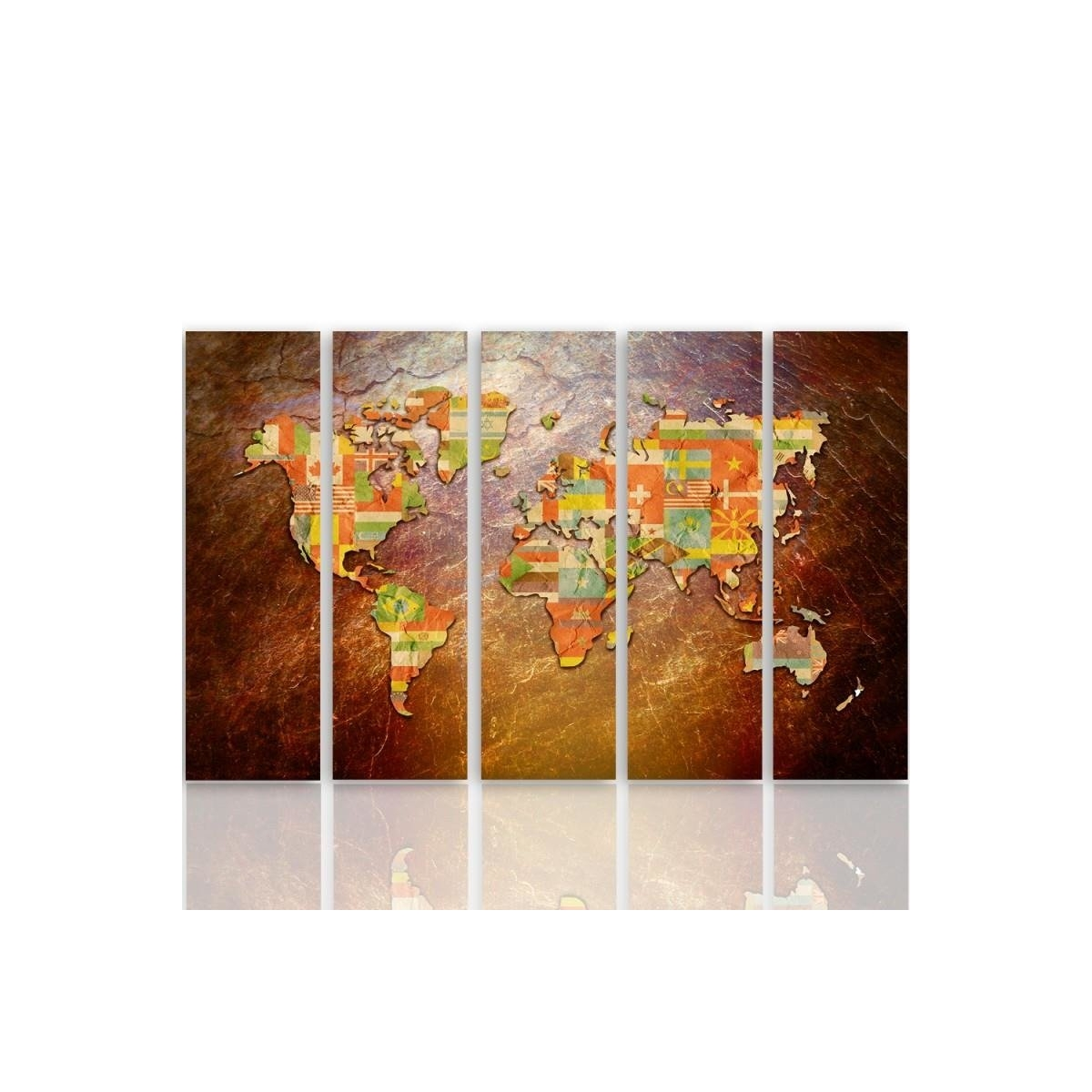 Five Part Picture On Canvas, Pentaptych, Type C, Flags On A World Map100x150