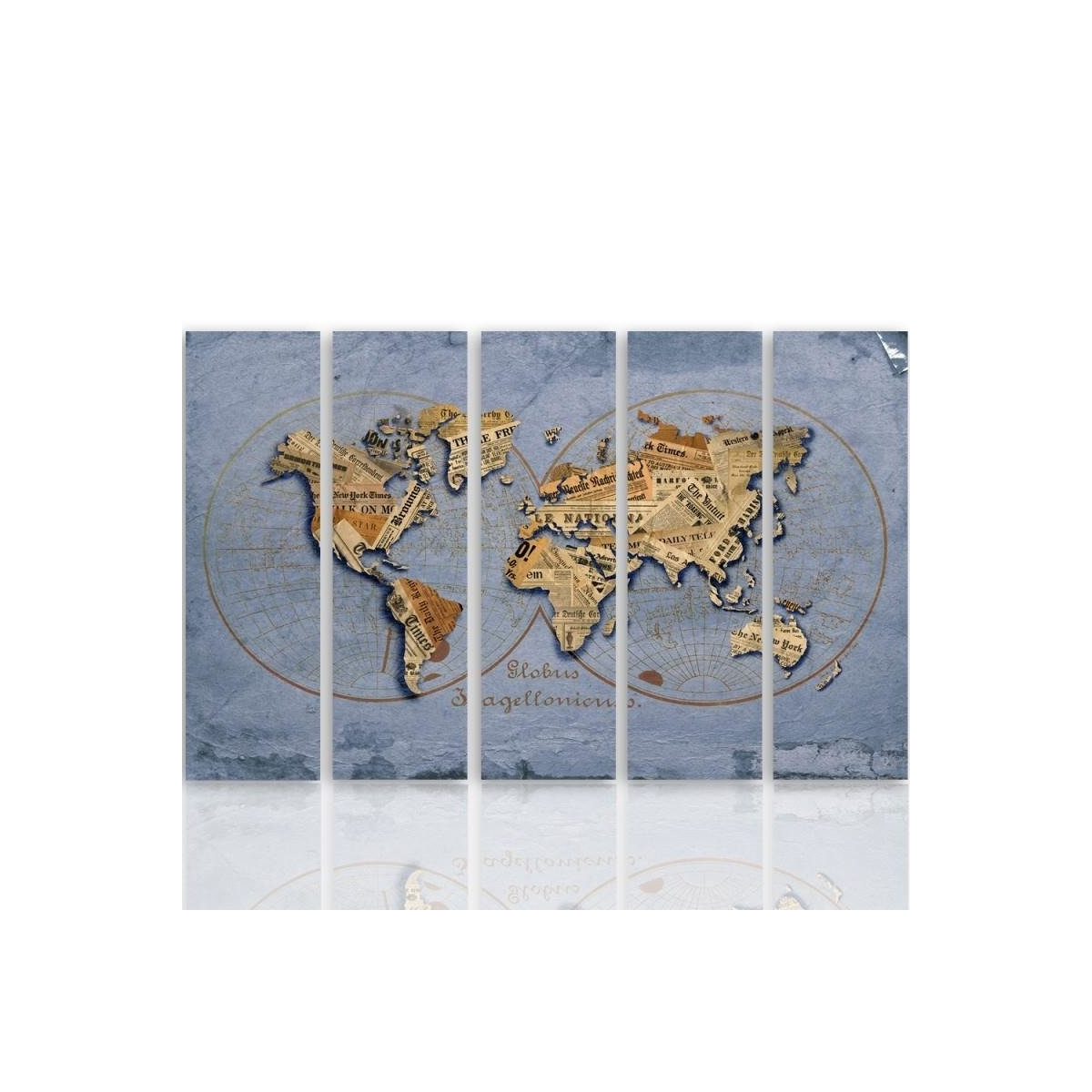 Five Part Picture On Canvas, Pentaptych, Type C, Newspaper World Map100x150