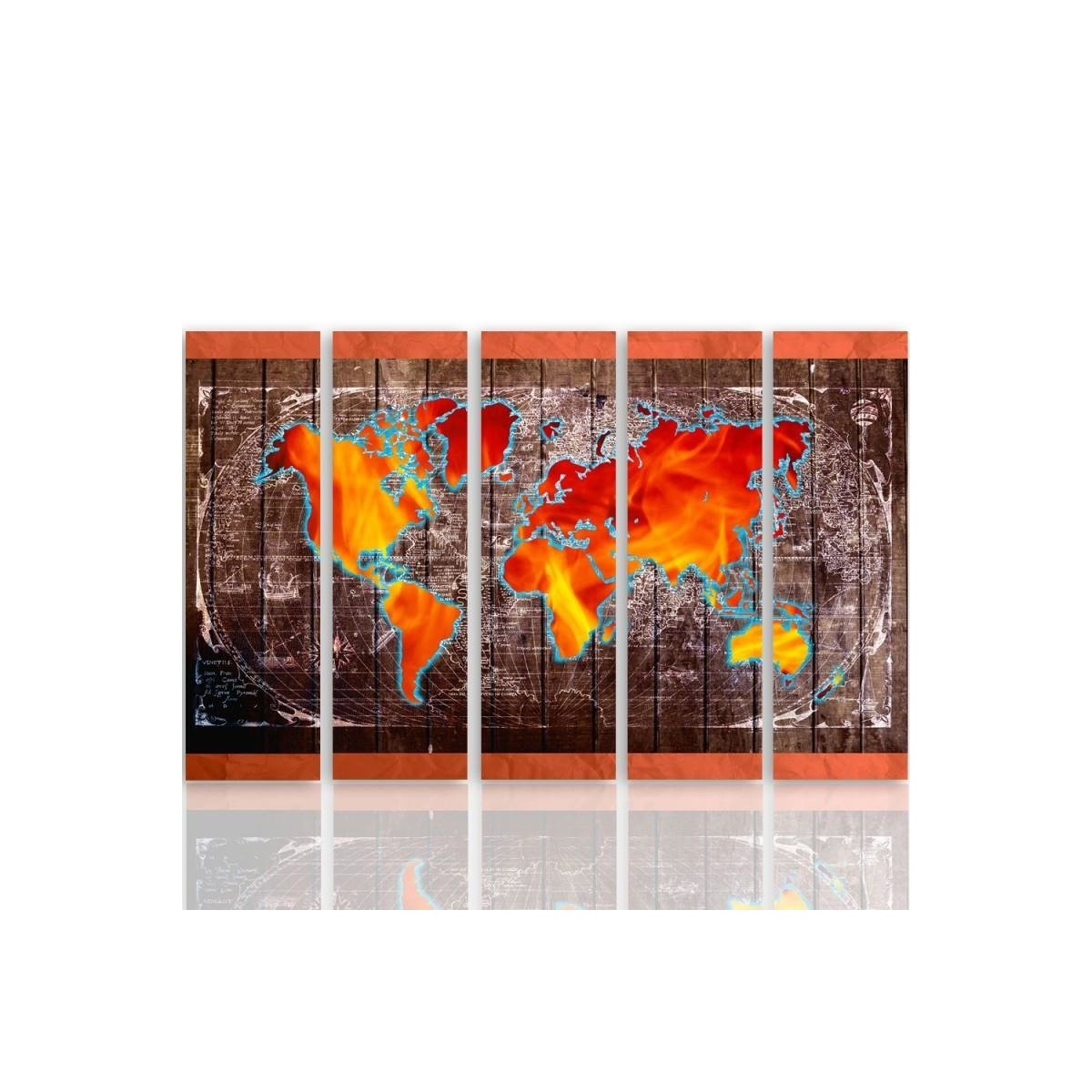 Five Part Picture On Canvas, Pentaptych, Type C, Map Of The World100x150