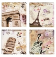 Set 4 tablouri canvas decor cu Turn Eiffel & Arc de Triumf Paris Franta, Turn Pisa Italia, Statuia Libertatii SUA, 4x 30x30cm
