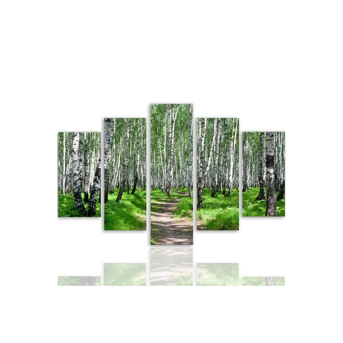 Five Part Picture On Canvas, Pentaptych, Birch Forest 2 100x150