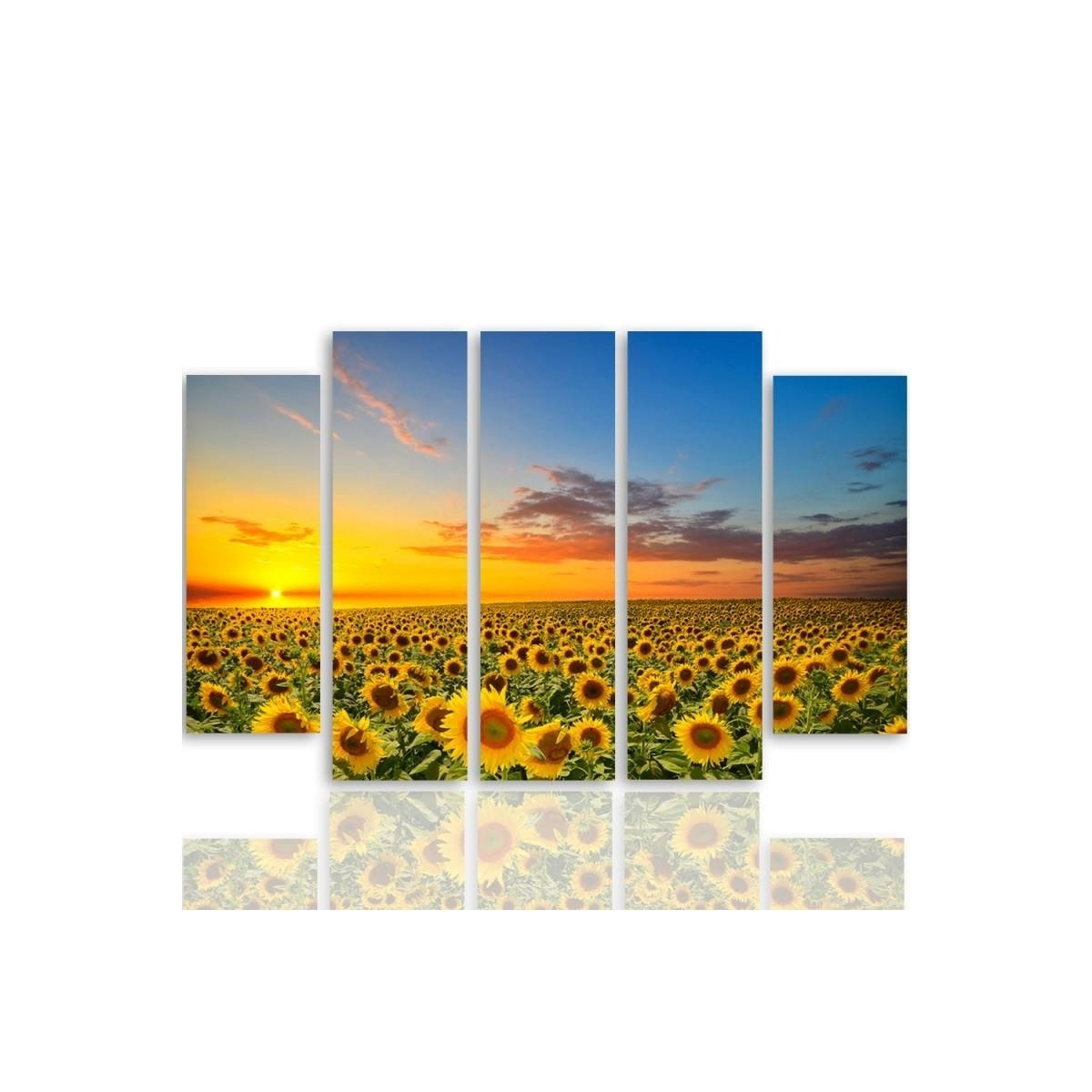 Five Part Picture On Canvas, Pentaptych, Sunflower Landscape 100x150