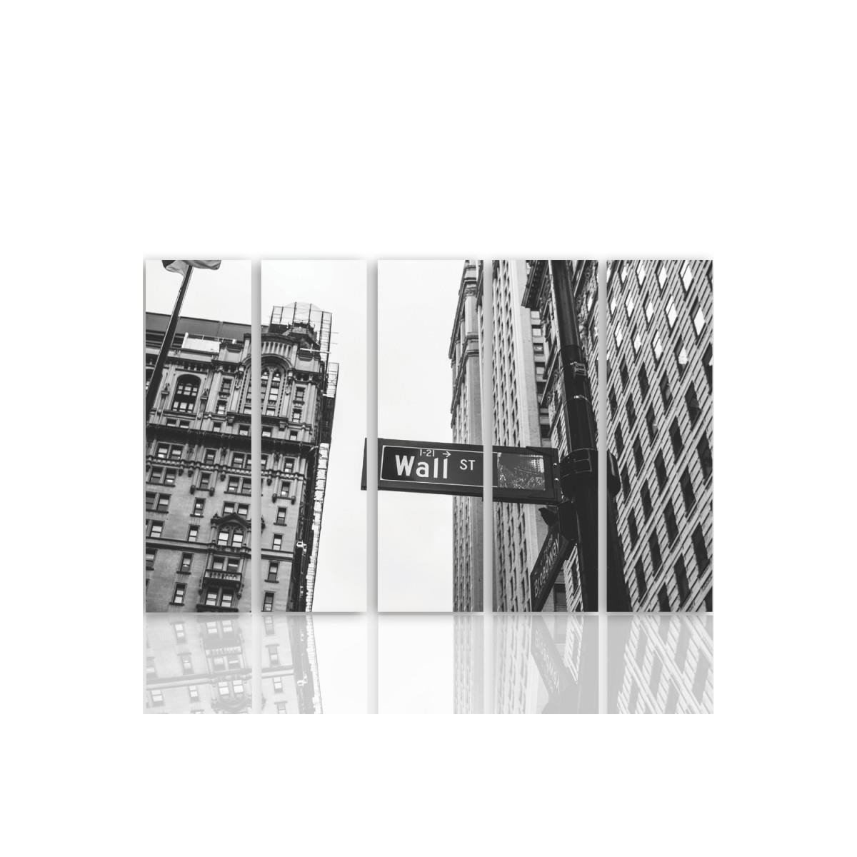 Five Part Picture On Canvas, Pentaptych, Wall Street100x150