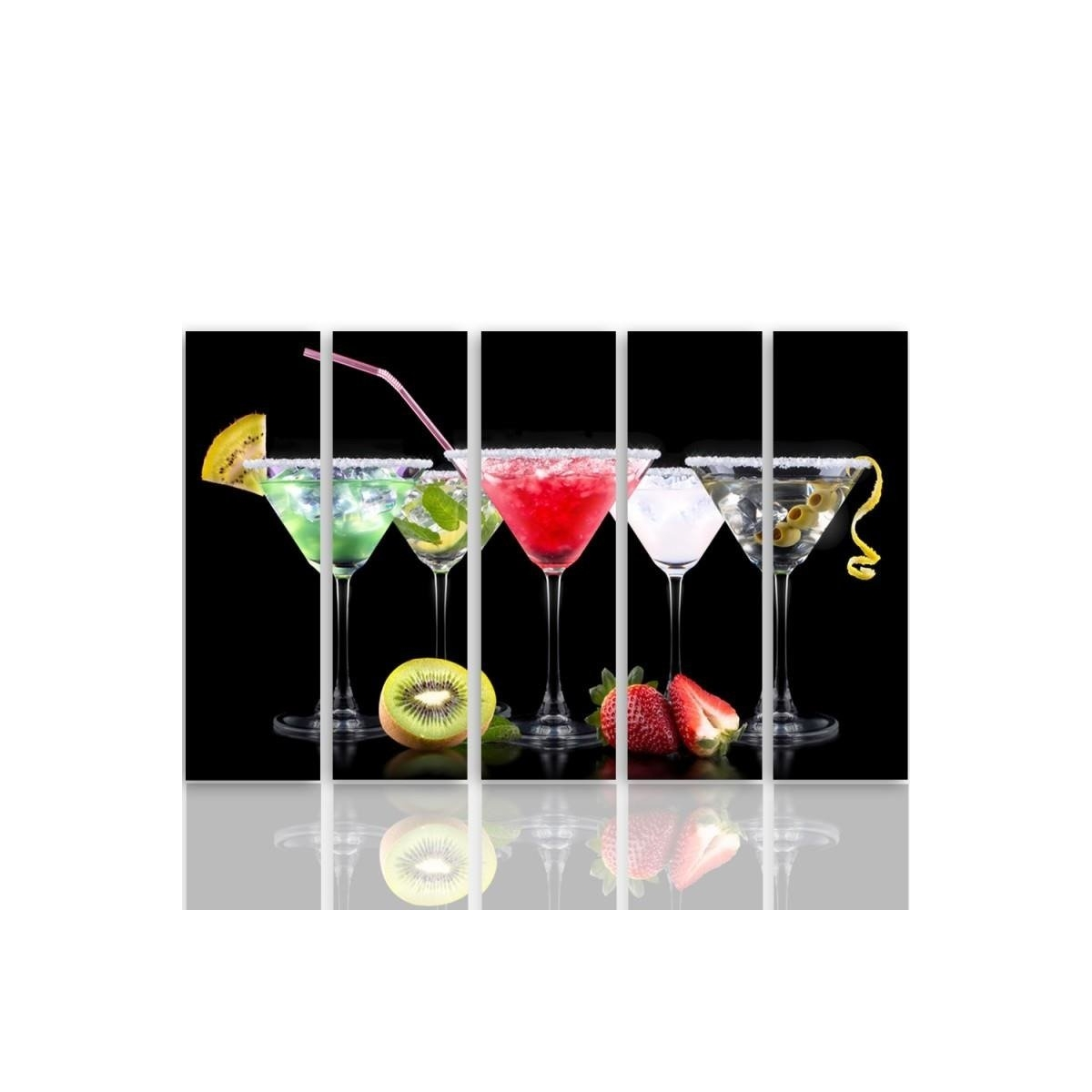 Five Part Picture On Canvas, Pentaptych, Drinks And Fruits 2100x150