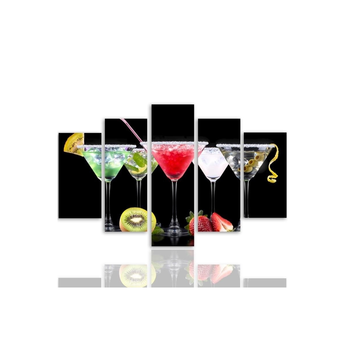 Five Part Picture On Canvas, Pentaptych, Drinks And Fruits 2 100x150