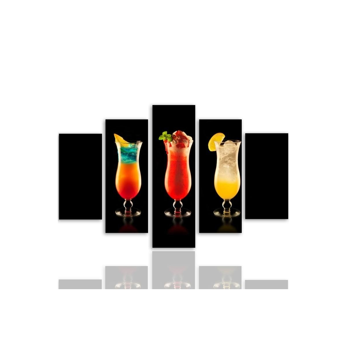 Five Part Picture On Canvas, Pentaptych, Cocktails100x150