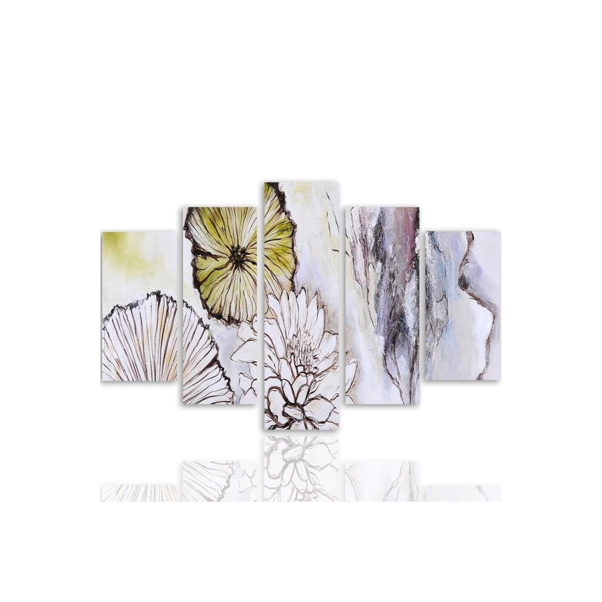 Five Part Picture On Canvas, Pentaptych, Type A, Flowers - Abstraction100x150