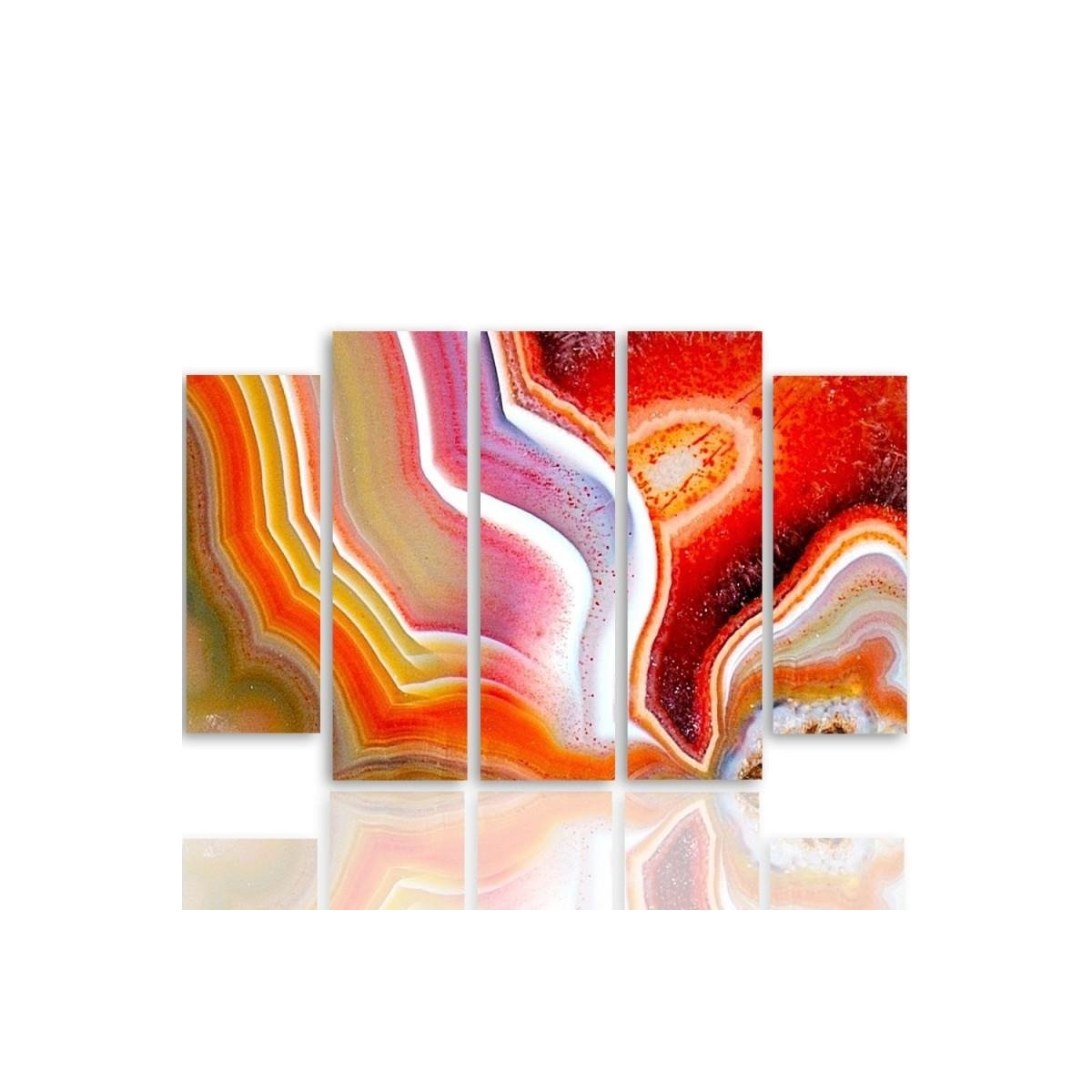 Five Part Picture On Canvas, Pentaptych, Type B, Color Abstraction 1100x150