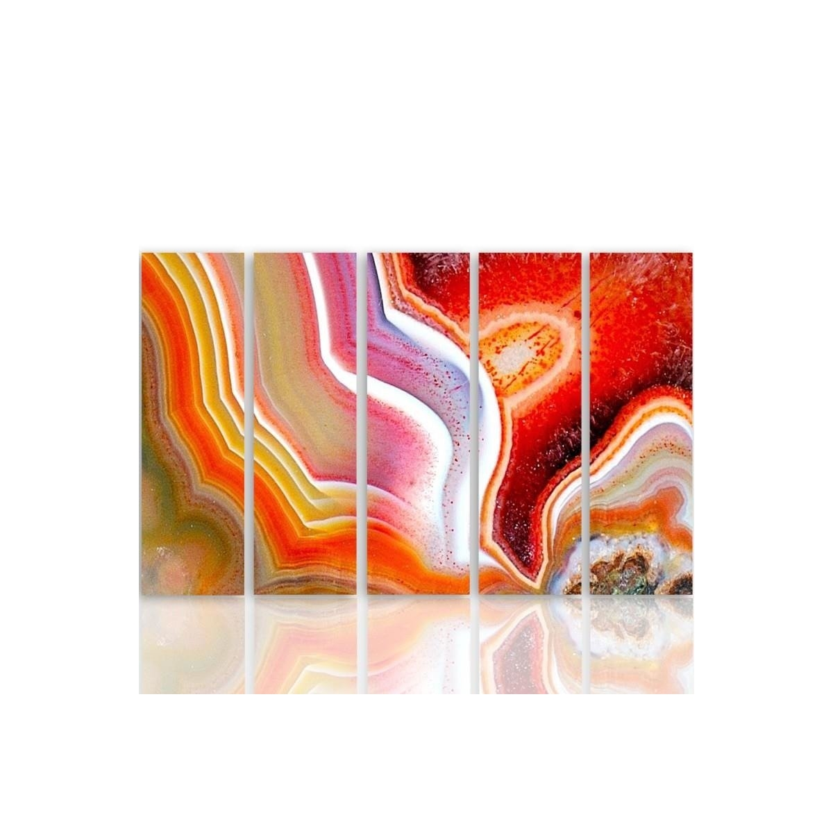 Five Part Picture On Canvas, Pentaptych, Type C, Color Abstraction 1100x150