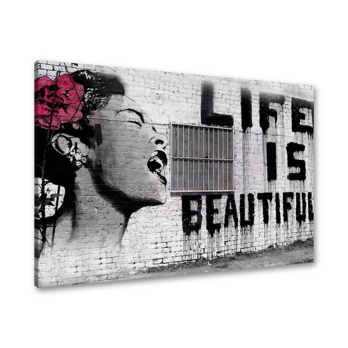 Tablou canvas graffiti arta stradala banksy life is beautiful pentru decor,  rama lemn, 80x60cm,  VSR4166