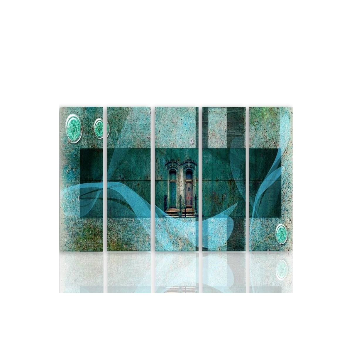 Five Part Picture On Canvas, Pentaptych, Type C, Architectural Motif100x150